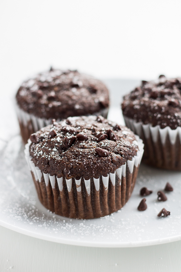 Whole Wheat Triple Chocolate Zucchini Muffins // bakingyum.com
