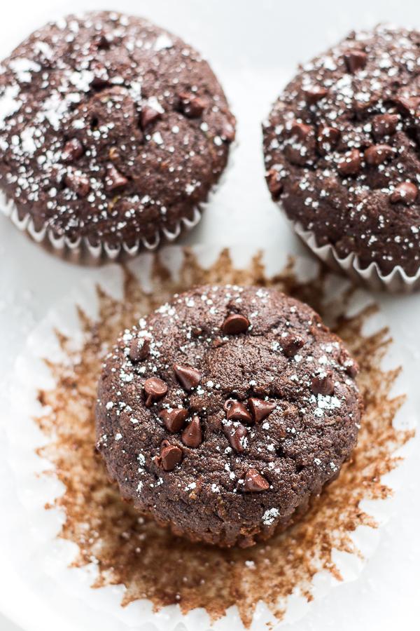 Whole Wheat Triple Chocolate Zucchini Muffins // bakingyum.com